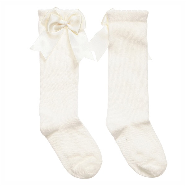 Mintini Satin Bow Socks, Cream