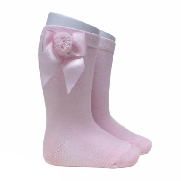 Meia Pata Grosgrain Bow Pom Pom Socks, Pink