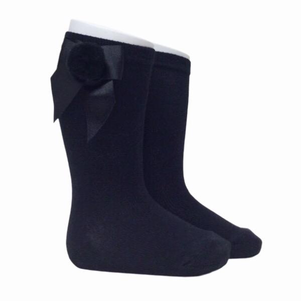 Meia Pata Grosgrain Bow Pom Pom Socks, Black