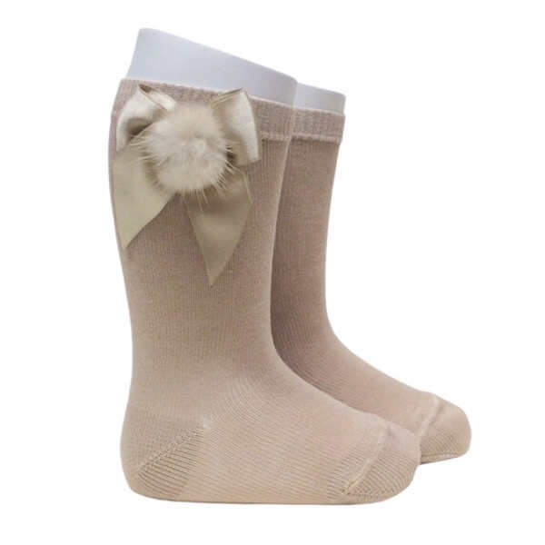 Meia Pata Fur Bow Socks, Camel