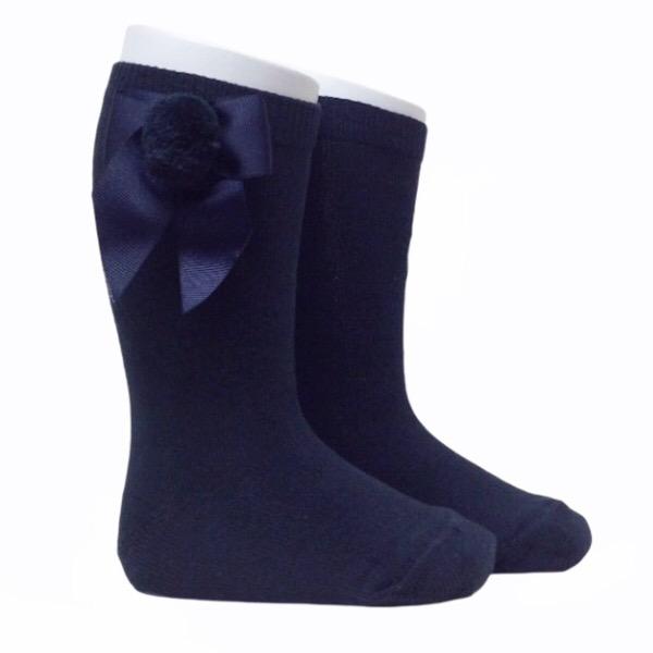 Meia Pata Grosgrain Bow Pom Pom Socks, Navy