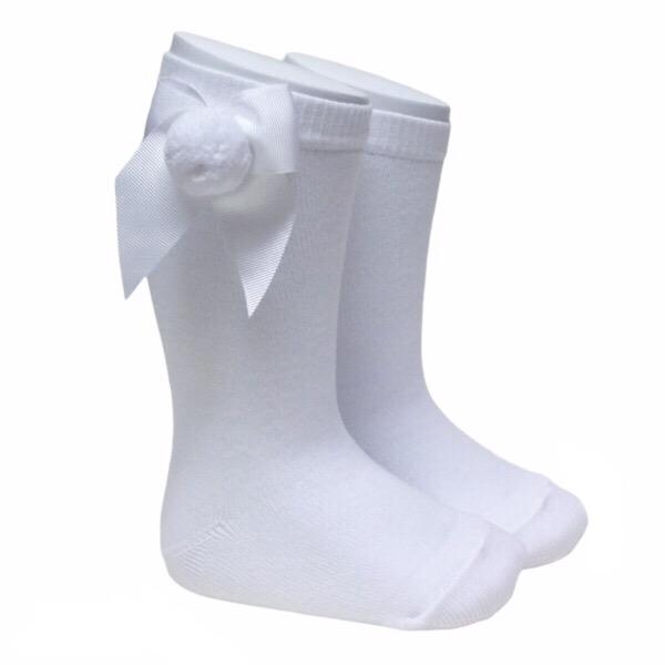 Meia Pata Grosgrain Bow Pom Pom Socks, White