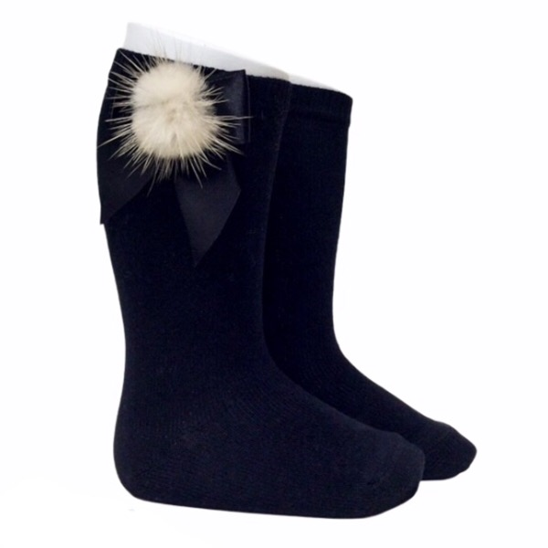 Meia Pata Fur Bow Socks, Black