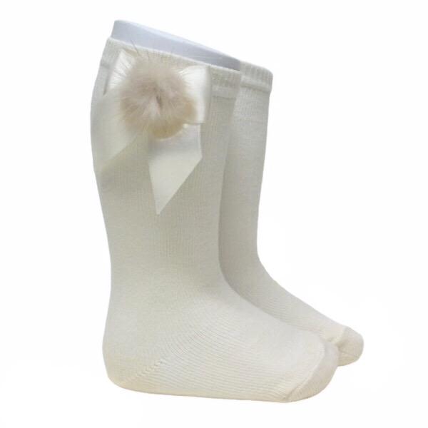 Meia Pata Fur Bow Socks, Cream