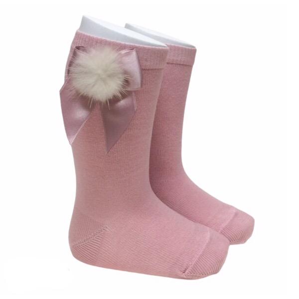 Meia Pata Fur Bow Socks, Dusky Pink