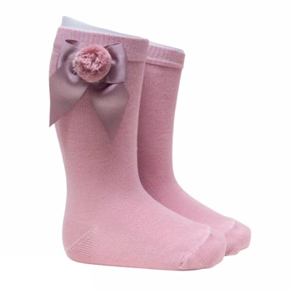 Meia Pata Grosgrain Bow Pom Pom Socks, Dusky Pink