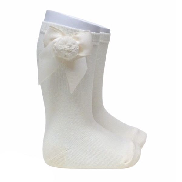 Meia Pata Grosgrain Bow Pom Pom Socks, Cream