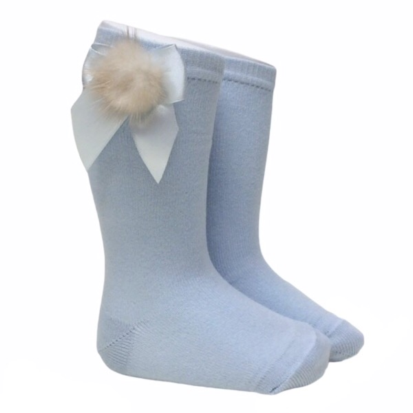 Meia Pata Fur Bow Socks, Blue