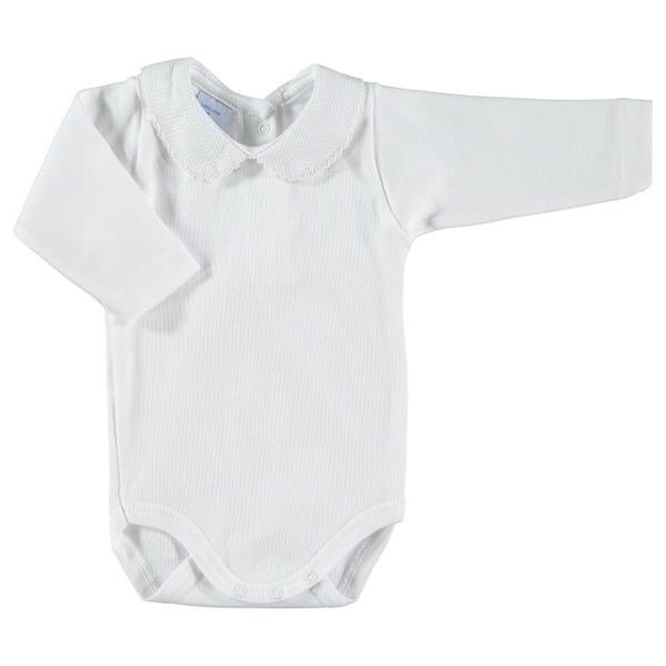Babidu Long Sleeve Peter Pan Collar Vest, Beige Trim