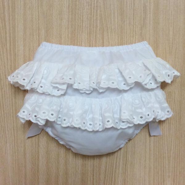 Petit Bebe Broderie Frill Pants, White