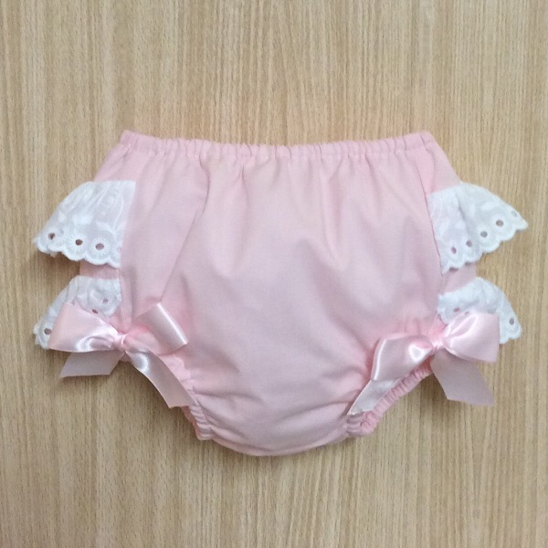 Petit Bebe Broderie Frill Pants, Pink & White