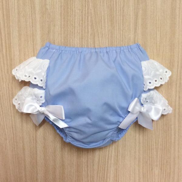 Petit Bebe Broderie Frill Pants, Blue & White
