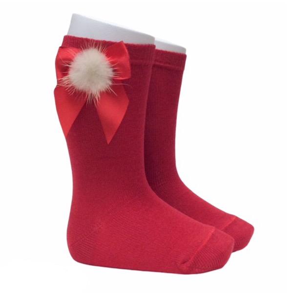 Meia Pata Fur Bow Socks,  Red