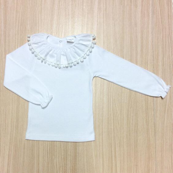Isabella Long sleeve Pom Pom Top, White