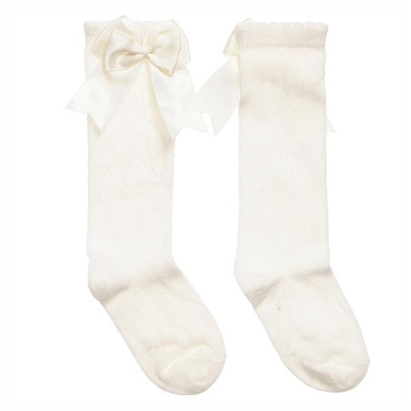 Tambino Double Satin Bow Socks, Cream