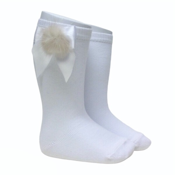 Meia Pata Fur Bow Socks, White