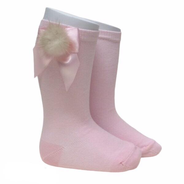 Meia Pata Fur Bow Socks, Pink