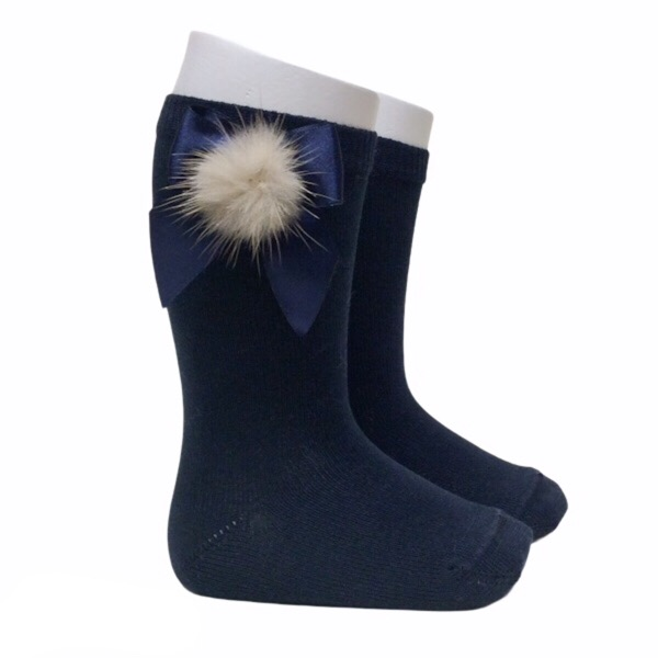 Meia Pata Fur Bow Socks, Navy