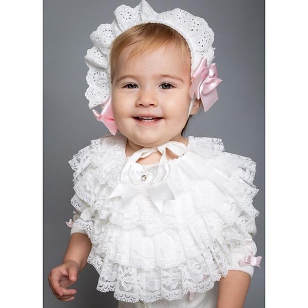 Caramelo kids Lace Bib, White