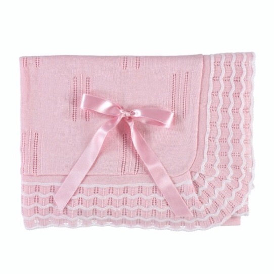Juliana Striped Edge Shawl, Pink & White