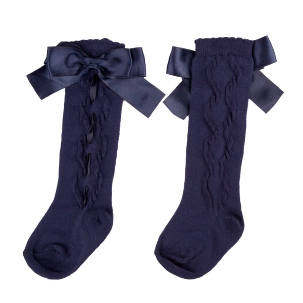Caramelo Ribbon Bow Socks, Navy
