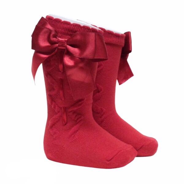 Caramelo Ribbon Bow Socks, Red