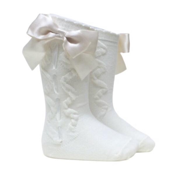 Caramelo Ribbon Bow Socks, Ivory