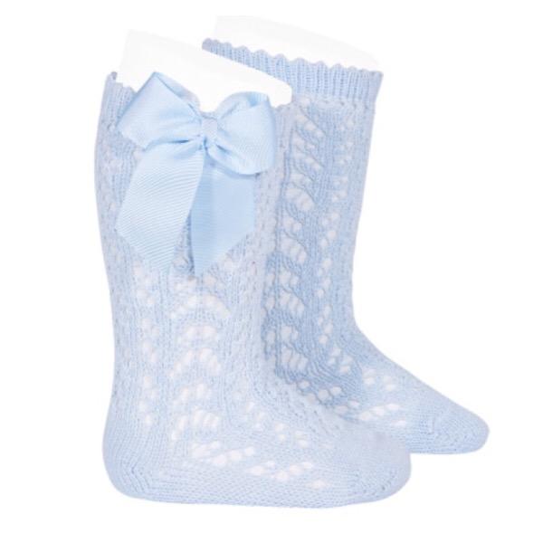 Condor Perle Open Work Knee Socks, Blue