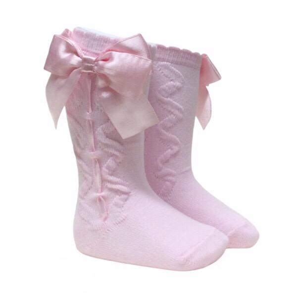 Caramelo Ribbon Bow Socks, Pink