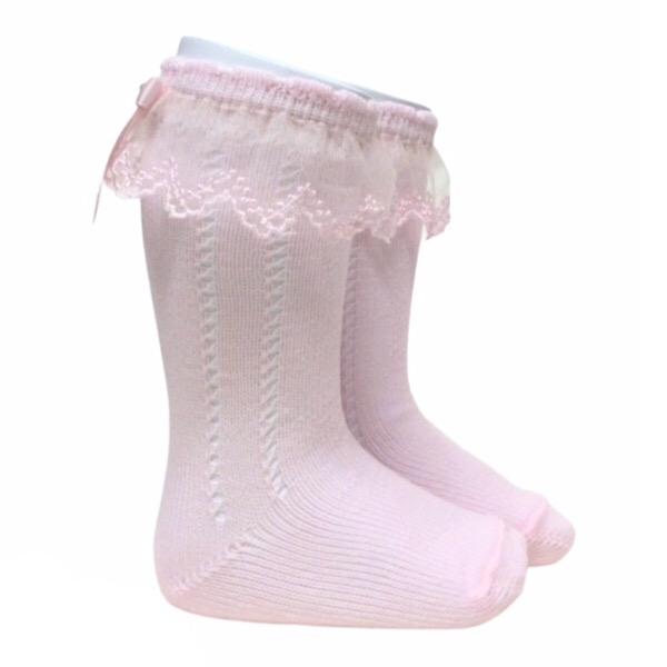 Meia Pata Tulle Open Work Socks, Pink