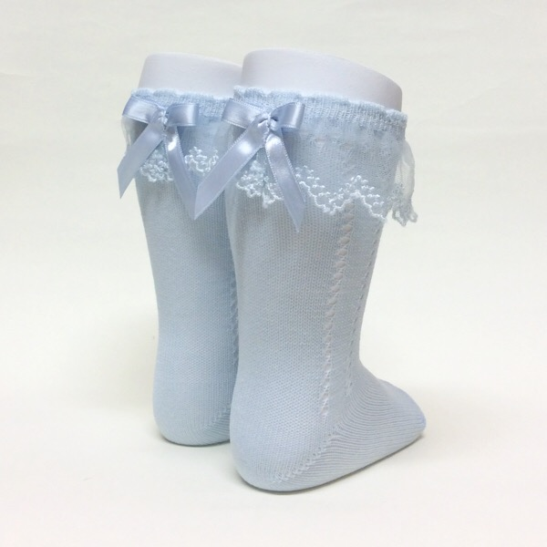 Meia Pata Tulle Open Work Socks, Blue