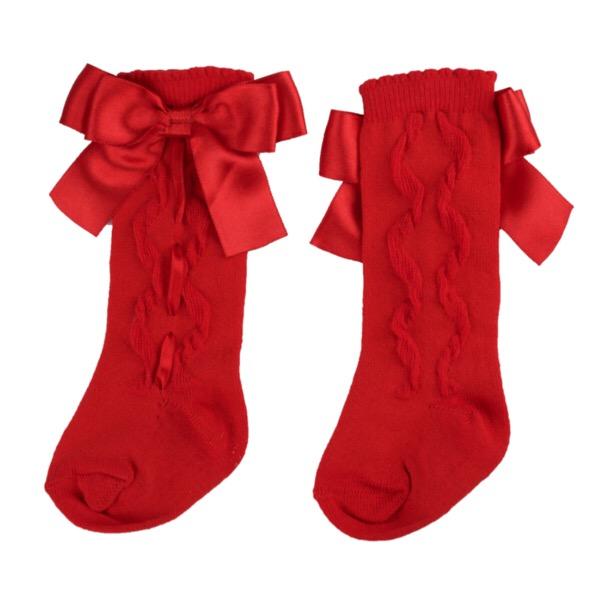 Caramelo Kids Ribbon Socks, Red