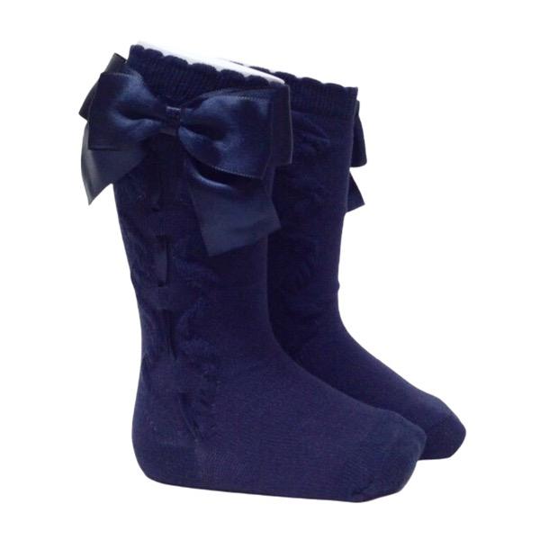 Caramelo Ribbon Bow Socks, Navy