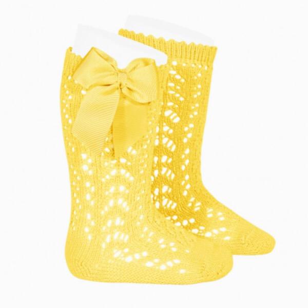Condor Perle Open Work Knee Socks, Lemon