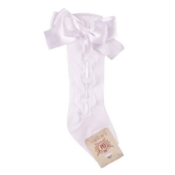 Caramelo Ribbon Bow Socks, White