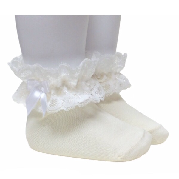 Meia Pata Lace Cuff Ankle Socks, Cream