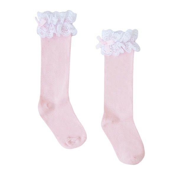 Newness Pink & White Lace Knee High Socks