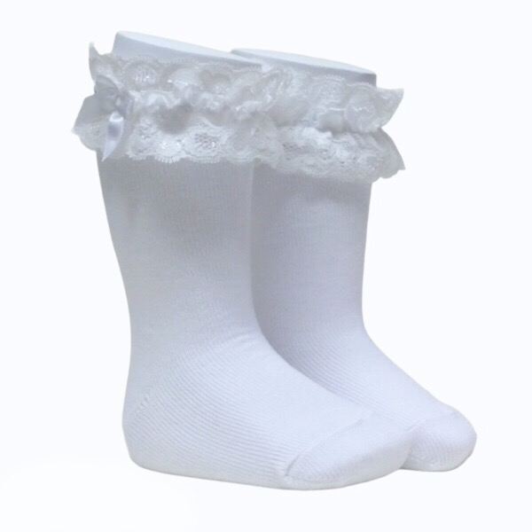 Meia Pata Lace Cuff Knee High Socks, White