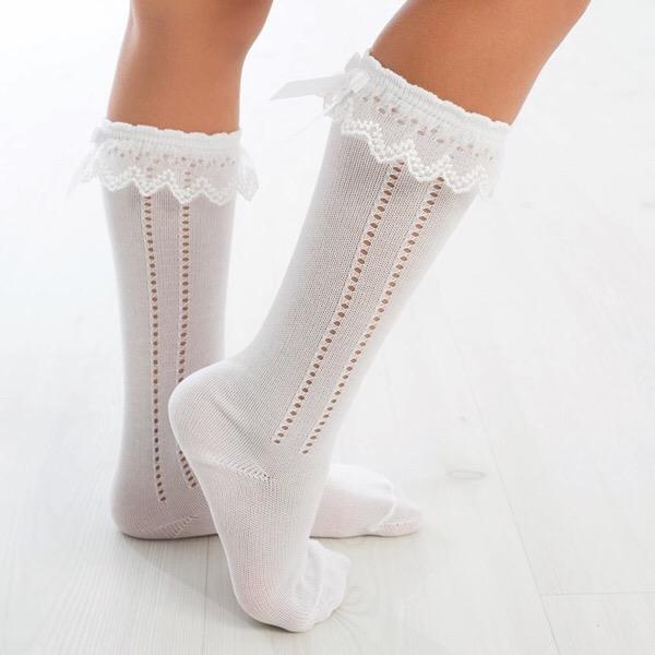 Meia Pata Tulle Open Work Socks, White