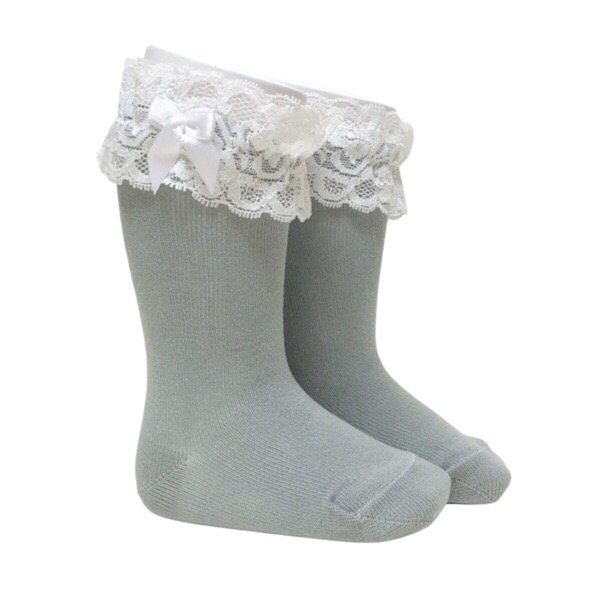 Meia Pata Lace Cuff Knee High Socks, Grey