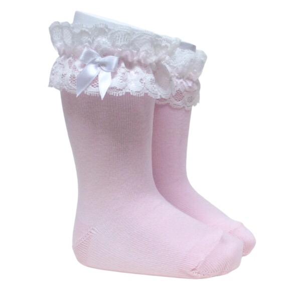 Meia Pata Lace Cuff Knee High Socks, Pink
