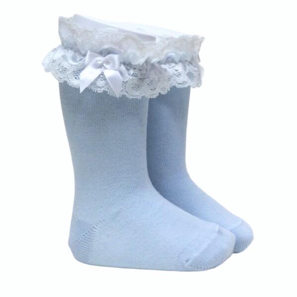 Meia Pata Lace Cuff Knee High Socks, Blue