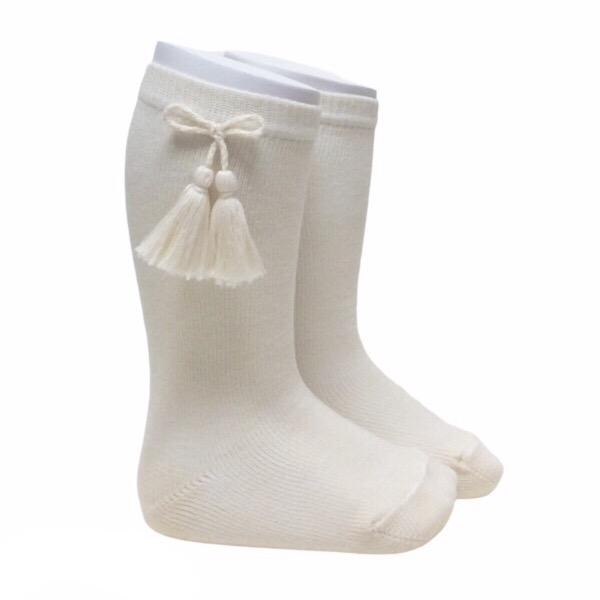 Meia Pata Tassel Socks, Cream
