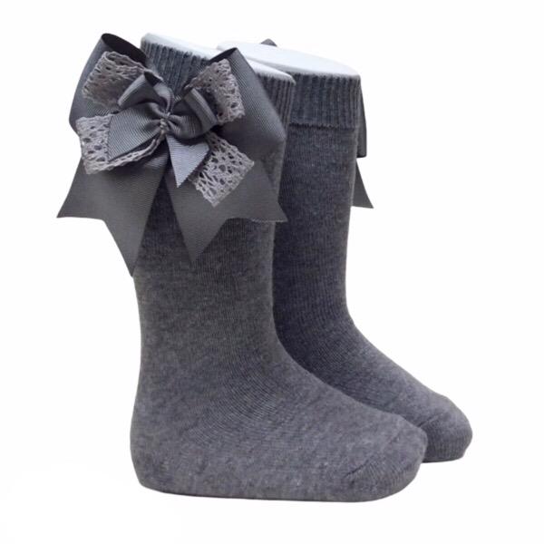 Pocholo Crochet Lace Bow Socks, Grey