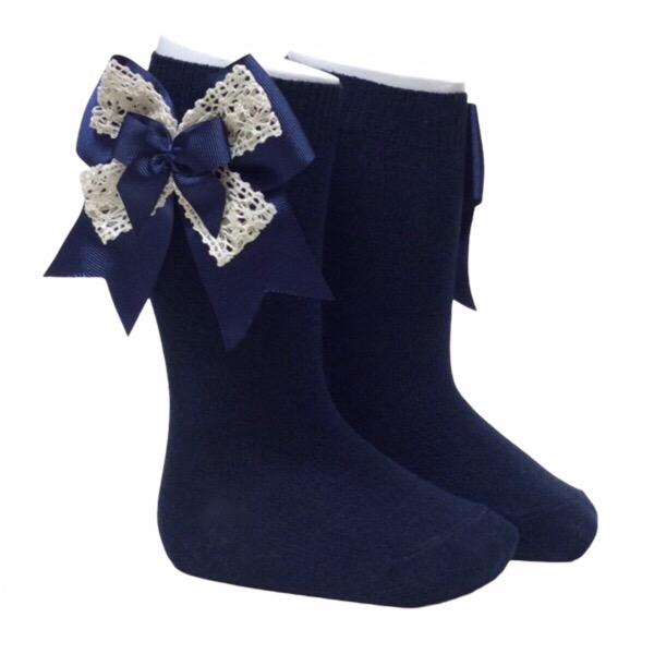 Pocholo Crochet Lace Bow Socks, Navy