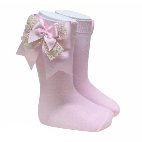 Pocholo Crochet Lace Bow Socks, Pink