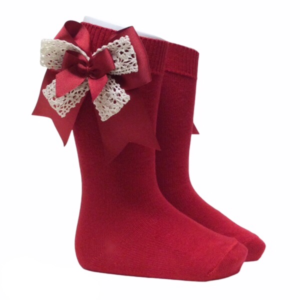 Pocholo Crochet Lace Bow Socks, Red