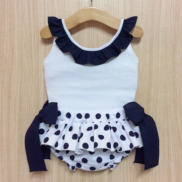 Phi Clothing Navy Polka Dot Bloomer Set