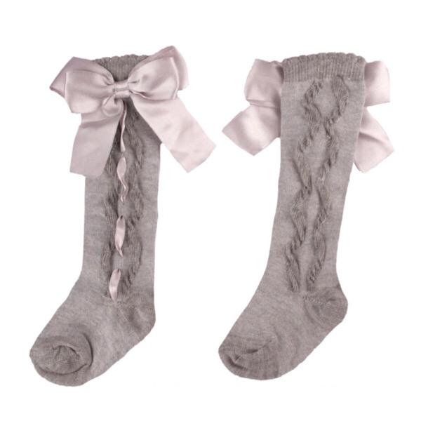 Caramelo Ribbon Bow Socks, Grey