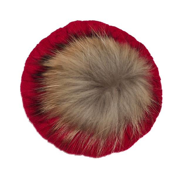 Rahigo Red & Camel Fur Beret
